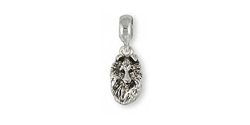 Collie Jewelry Sterling Silver Collie Charm Slide Handmade Dog Jewelry COL4-PNS