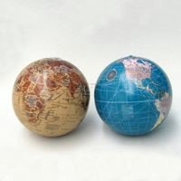 Plastic Blue And Tan Earth Globe Ornament Set Of 2 ()