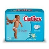Cuties Baby Diapers, Size 3, 36Count, Pack of 4