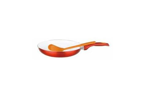 Diamond Home Non-Stick 11'' Frying Pan With Spatula - Red/Orange