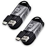 Oem Retail Package - Two (2) Samsung 3.3 Ft. Cable Type-C USB Data Cable for Galaxy S8/S8+ S9/S9+ Note 8 Note 9 & Other Smartphones + Two Cable Ties Cable Organizers Bundle Package- Non-Retail Packaging - Black