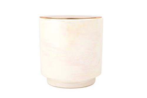 Paddywax Candles Glow Collection Scented Soy Wax Blend Candle in Iridescent Ceramic Pot, Medium- 17 Ounce, Cotton & ()