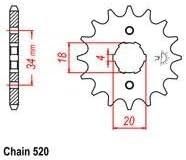 520 20 TOOTH 20MM FRONT ENGINE SPROCKET ATV HONDA YAMAHA DIRT BIKE GOKART I ES44