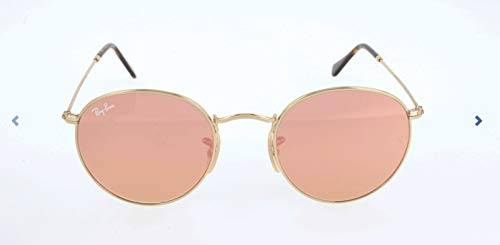 Ray-Ban RB3447N Round Flat Lenses Metal Sunglasses, Shiny Gold/Copper Flash, 47 mm ()