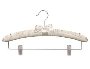 Satin Padded Combo Hanger, Ivory Finish with Chrome Hardware, Box of 24 by The Great American Hanger Company by The Great American Hanger Company
