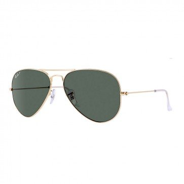 Ray-Ban Aviator Gold Frame / Natural Green Polarized RB 3025 001/58 58mm in - Ban Aviator Black Lens Ray Frame Gold