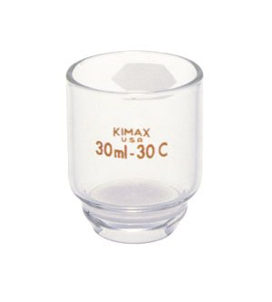 Kimax 28260-301 Glass 30mL Coarse Low Form Gooch Crucible, with Kimflow Fritted Disc (Pack of 2)