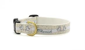 """""""Love and Cherish"""" Dog Wedding Collars By Up Country Made in the USA (Large)"""