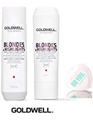 Goldwell Dualsenses BLONDES And HIGHLIGHTS Anti-Yellow Shampoo & Conditioner Duo Set (with Sleek Compact Mirror) (10.1 oz / 300ml Duo Kit)