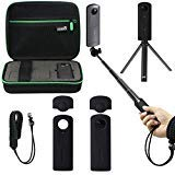 EEEKit All in One Accessory Kit for Ricoh Theta V 360 Camera, Shockproof Protective Carrying Case, Selfie Stick Monopod,...