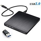 External CD Drive, Tebaba USB 3.0 Portable CD DVD +/-RW Drive Slim DVD/CD ROM Rewriter Burner Writer, High Speed Data Transfer for Laptop/Macbook/Desktop/MacOS/Windows10/8/7 (Black)