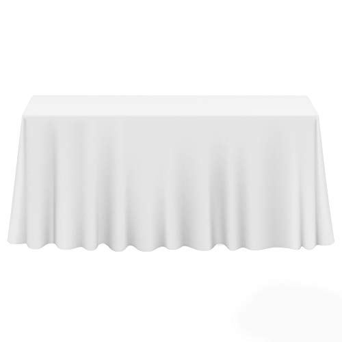 Lann's Linens - 10 Premium 90 x 156 Tablecloths for Wedding/Banquet/Restaurant - Rectangular Polyester Fabric Table Cloths - White