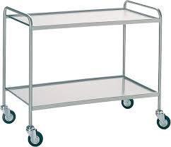 Vigneshwara Stainless Steel 2 Shelves Trolley 30X24X34