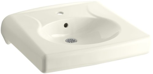 KOHLER K-1997-1-96 Brenham Wall-Mount Bathroom Sink with Single-Hole Faucet Drilling, Less Soap Dispenser Hole, (Biscuit Soap)