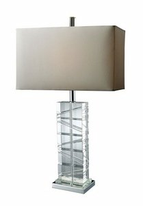 Dimond D1813 15-Inch Width by 23-Inch Height Avalon Table Lamp in Clear Crystal and Chrome with Pure White Faux Silk Shade and Pure White Fabric - Piano Avalon