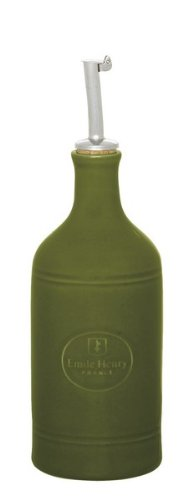 Emile Henry Olive Ceramic Oil Cruet with Stainless Steel Spout by Emile Henry