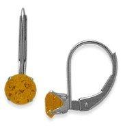 November Sterling Silver 0.80tcw. 5mm Citrine Leverback Gem Earrings Elite Jewels E3139SS
