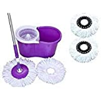 N S ENTERPRISES 360° Spin Floor Cleaning Easy Magic Plastic Bucket Mop with 2 Microfiber Heads (Color May Vary)