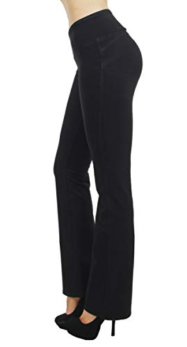 Shaping Pull On Butt Lift Push Up Yoga Pants Stretch French Terry Flare Jeans in Black Size ()