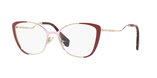 Miu Miu MU 51QV - VYG1O1 Eyeglasses PALE GOLD/PINK/RED ()