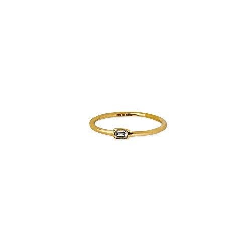 14kt Yellow Gold 1/10Ct E2W Baguette Diamond Wire Ring