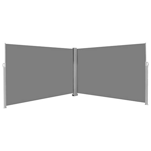 Tidyard Retractable Double Folding Side Awning Screen Fence Patio Garden, Terrace Balcony Retracts Automatically with 2 Posts Robust, Weather-Resistant & UV Protection 78.7inchx236.2inch Gray ()