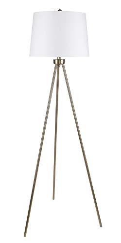 Grandview Gallery 61.75″ Modern Plated Gold Tripod Floor Lamp with Off-White Linen Tapered Drum Shade – Chic Lighting for Behind The Couch, Free Standing, Reading, The Bedroom, or The Office