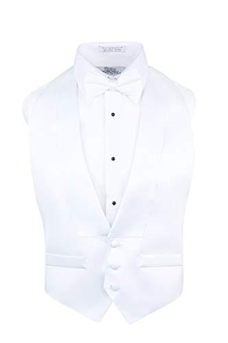 S.H. Churchill & Co. Men's Satin Backless Vest & Bow Tie Set White, Fit All (Adjustable)