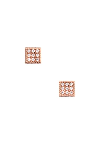 Trendy Fashion Jewelry CZ Stone Pave Square Shape Post Earring By Fashion Destination   (Rose Gold)