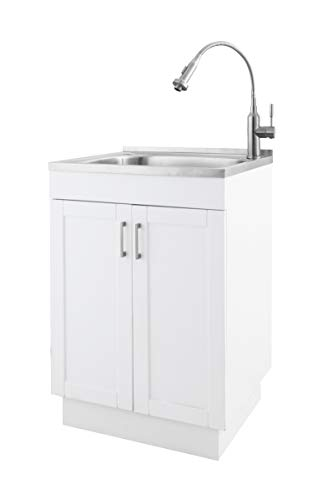 ZUHNE 24 Inch White Pre Assembled Soft Close Laundry Utility Cabinet with Stainless Steel Sink and Flexible Spring Dual Function Faucet Mixer