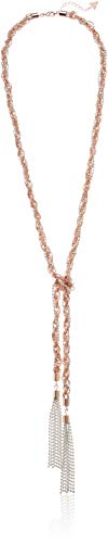 GUESS Tassel Knotted Nk W/Pearls Y Shaped Necklace, Rose Gold, One Size ()