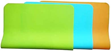 FLADESS Silicone Table Mat Set of 3 Blue/Green/Orange Color,and Size is 40cm by 30cm. Non-Slip Mat.Best for Baby/Kid/Children Placemats/Meal-Mat