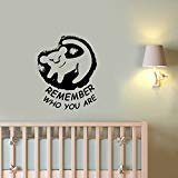 Remember Who You Are Lion King Wall Sticker Walt Disney Quote Vinyl Lettering Simba Decal Art Inspirational Saying Decorations for Home Kids Room Bedroom Cartoon Animal Decor Ideas ling21