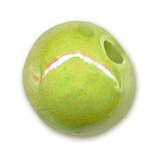 Perlina in ceramica mm. 8 Verde Anice iridato