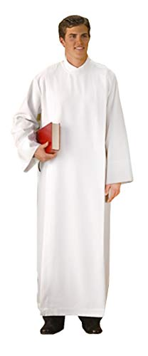 - R.J. Toomey White Polyester Front Wrap Clergy ALB (Extra Small)