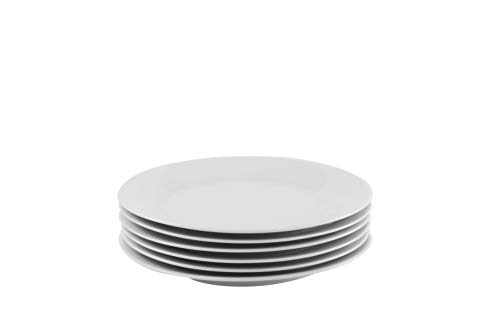 Professional Gourmet Porcelain Dinner Plate- Set of 6 (Salad -
