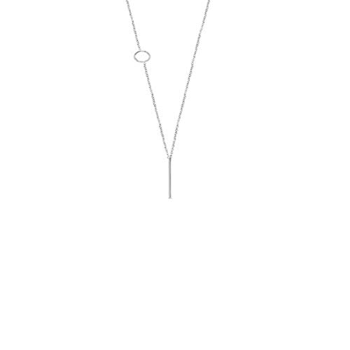 Bar Long Necklace Lariat Open Circle Y Pendants Simple Minimalist Choker Collarbone Chain Charms Jewelry Bar With Round Silver Plated