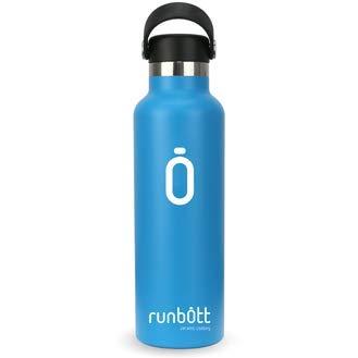 Runbott Botella Agua Acero Inoxidable sin BPA con Recubrimiento OInterno Ceramico 600 ml Doble Capa con Vacio. Sin Sabor Metalico (Azul)