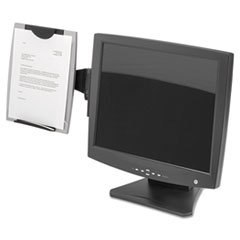 * Office Suites Monitor Mount Copyholder, Plastic, Holds 150 Sheets, Black/Silver *