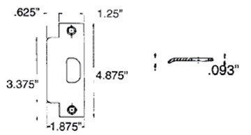 Chrome Estate Replacement Latch - Baldwin 5510.ASTR ASA Strike 1-1/4