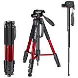 Neewer Portable Aluminum Alloy Camera Tripod Monopod 70inches/177centimeters with 3-Way Swivel Pan Head