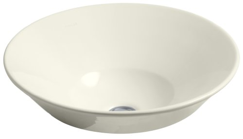 KOHLER K-2200-96 Conical Bell Vessels Above-Counter or Wall-Mount Bathroom Sink, Biscuit