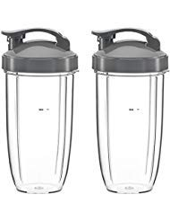 NutriBullete Cups for NUTRIBULLET 5 pc Set, 32 oz. Tall (2 Pack) with Flip Top To-Go Lid & Lip Ring - Best Quality NutriBullet Replacement Parts