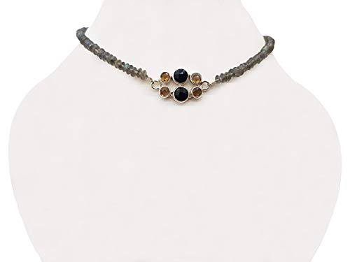 - Citrine & Black Onyx Silver pendant with Labradorite Beads Choker Neckalce with 925 Silver Findings 14