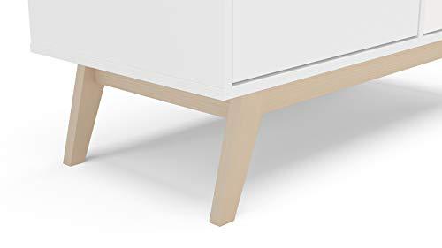 Kitchen Polifurniture Zafra Mid Century Modern Sideboard Buffet Storage Cabinet, 40 inch, White modern buffet sideboards