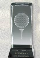 Optical Cut Crystal Golfball Trophy with Black Crystal - Golf Crystal Awards