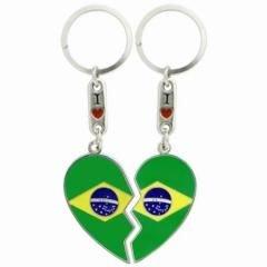flagsandsouvenirs Keychain BRAZIL HEART