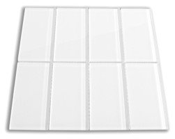 free shipping Super White Glossy - 3x9 Bright White Subway Glass Tile - Bathroom Tile & Kitchen Backsplash Tile (Price Per 3 Square Feet, 16 Pieces)