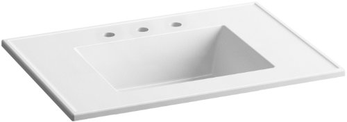 (KOHLER K-2779-8-G81 Ceramic/Impressions 31 in. Rectangular Vanity-Top Bathroom Sink with 8 in. Widespread Faucet Holes, White Impressions)