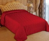 """Bednlinens 1 Piece Quilted Leaves Redish Burgundy/Beige Reversible Coverlet 106""""x94""""King"""